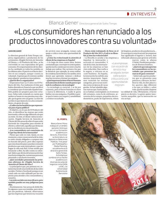 Entrevista a Blanca Gener, Directora General del Producto del Año, en La Razón