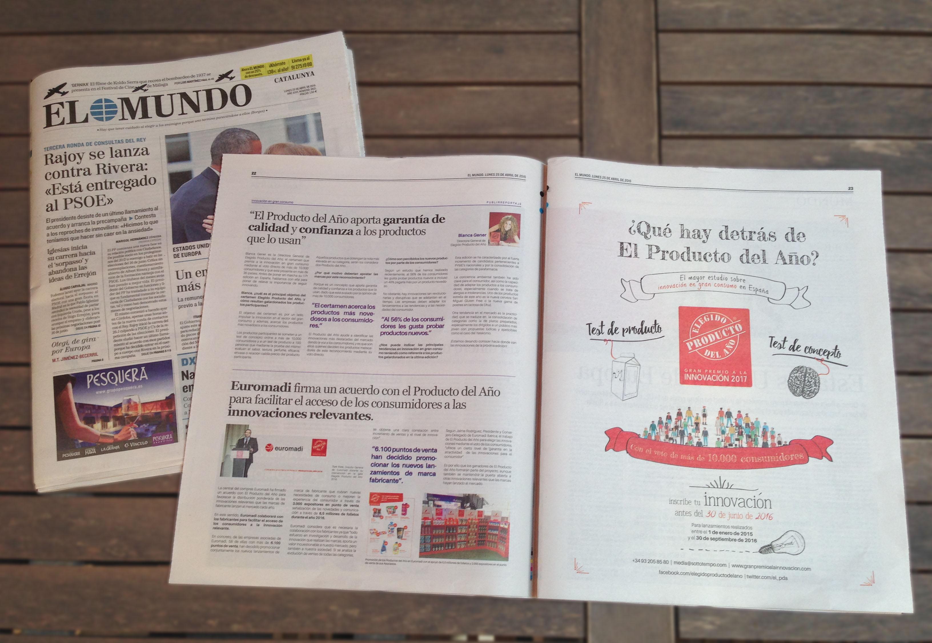 El Mundo dedica dos páginas a El Producto del Año